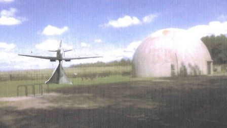 An artisit's impression of how the Spitfire replica would look at Langham Dome. Image: PLANNING DOCU