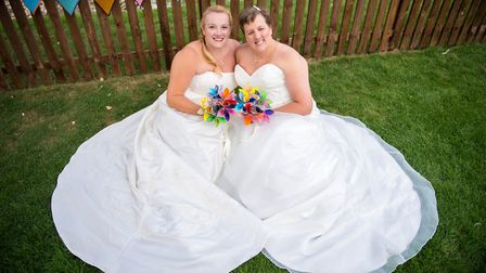 Becky Townsend, left, and Cathy Townsend at their wedding last year. Picture: SUPPLIED BY BECKY TOWN