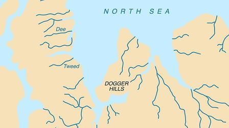 An image of the area known as Doggerland which connected the British Isles and the European continen