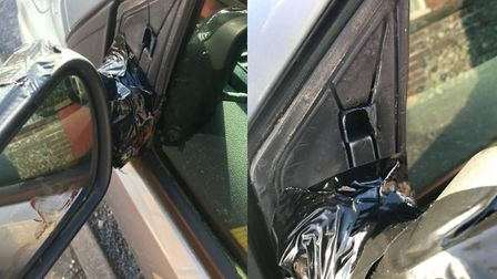 Stephen Lawrence, from Holway Road, Sheringham, had his car wing mirror vandalised. Photo: Stephen L