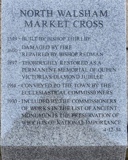 The new Market Cross history stone plinth at North Walsham, replacing the old one that is almost unr