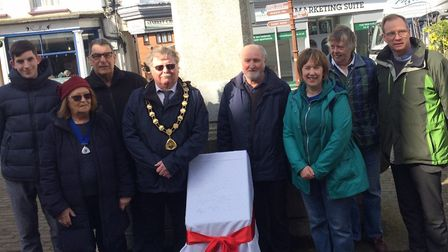 North Walsham Mayor Barry Hester and other dignitaries at the unveiling of the plinth. Picture: Davi