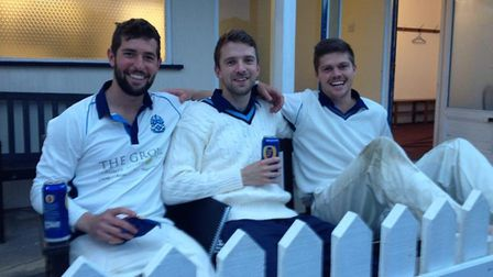 Olly Kimber (left), collapsed while swimming. Pictured with then-Cromer Cricket Club teammates Micha