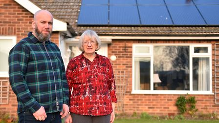 Kathleen Lynch with her son Justin outside her house in North Walsham. PICTURE: Jamie Honeywood