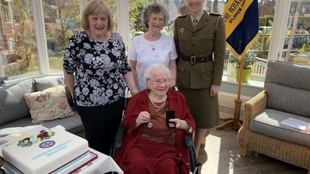 Dorothy Mann at the presentation of the Légion d'honneur at Cromer's Halsey House. Also pictured are