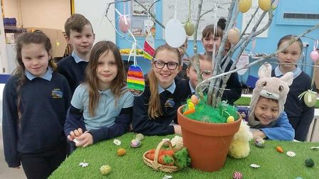 Youngsters at Cromer Junior School tucked in to Easter treats to celebrate the fifth anniversary of