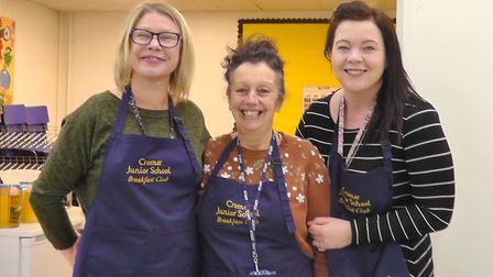 Cromer Junior School breakfast club organisers Tula Gray, Jeni Hawkins and Becky Kavanagh.Picture: