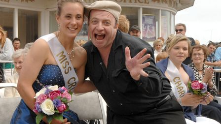 Andreas Yiasimi crowning 2010 Miss Cromer Lucy Hyam. Picture: COLIN FINCH