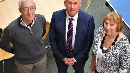 –Youth project manager Julie Alford with, from left, trustee Nigel Flower and chairman Kevin Abbs. P