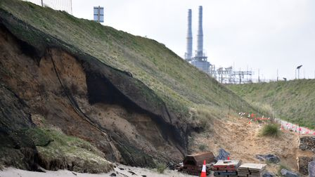 Bacton cliffs with the gas terminals above, where netting was put in place to stop sand martins nest
