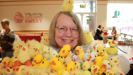 Norfolk Knitters and Stitchers north Norfolk area organiser Kate Davis with just some of the chicks