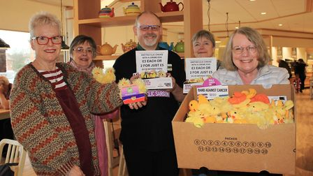 Kate Davis (right) with fellow Norfolk Knitters and Stitchers and Morrisons Cromer community champio