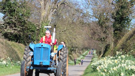 Visitors enjoying the tractor rides at Honing's daffodil day. Picture: EMMA FORD