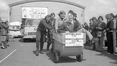 Young Farmers Club barrow push, 23 April 1976. Photo: Archant Library