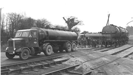 Road tankers arriving at North Walsham Railway Station with loads of condensate from the Bacon Gas S