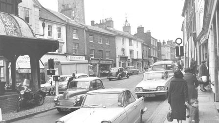 A shopping street in North Walsham, 11 October 1962. Photo: Archant Library