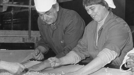 Staff checking baked beans at the HP Foods factory in North Walsham, May 1987. Photo: Archant Librar