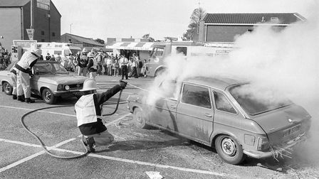 Firefighters demo at the 999 Day at North Walsham, 1 October 1988. Photo: Archant Library