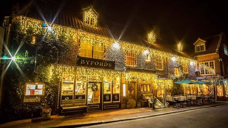 Byfords in Holt looking very festive at Christmas-time. Picture: Brad Damms