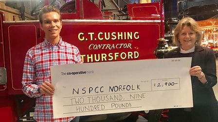 The Countess of Romney, chairman of West Norfolk NSPCC, collected the cheque for £2,900 from Charlie