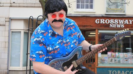 Scott Eltringham of JB Postle Electricals gets into character ready for the Cromer's 1960s Festival.