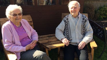 June and Tommy Warnes on the chair and table set given to them from the family for their 70th annive