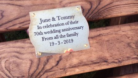 The plaque on the chair and table set. Pictures: David Bale
