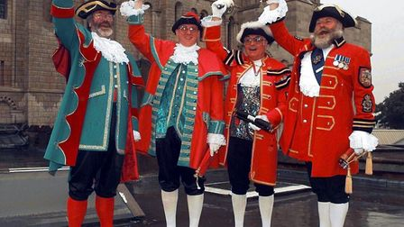 Announcing the launch of a new citizens panel for Norfolk in 1998. From left: Sheringham town crier
