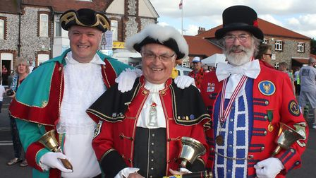 Cromer town crier Jason Bell with Sheringham town crier Andrew Cunningham Brown (left) and the late