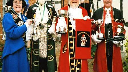 Mr Bell (right) winning the Heart of England town criers competition 2nd place trophy in 2006.Photo: