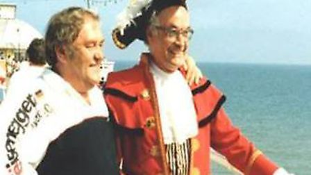 On Cromer pier with comedy legend Les Dawson in 1987.Photo: JASON BELL