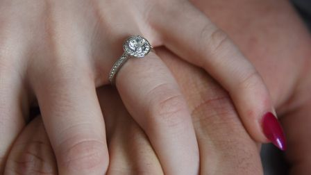 Sarah Crooks' engagement ring, after North Walsham rugby player Lachlan Brown-Bates proposed at the