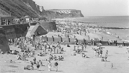 Holidaymakers enjoying the sunshine in Cromer. 15 August 1969. Photo: Archant Library