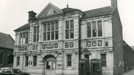 The 1984 Cromer Town Hall facade with the row of coats and arms. Picture: Archant library