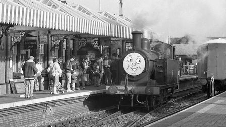 Thomas the Tank Engine on the North Norfolk Railway line at Sheringham Station, October 1991. Pictur