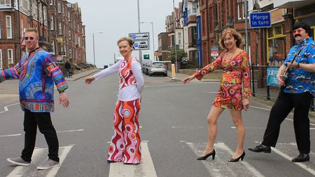 Cromer Chamber of Trade Chairman Sam Grout (left) and fellow local shop owners mirroring the Beatles