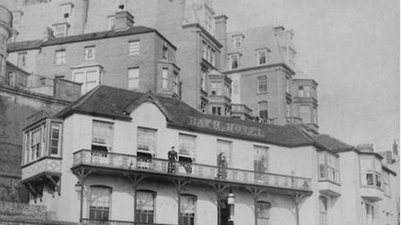 An historic image of the Bath House showing the building's former first-foor balcony. Its new owner