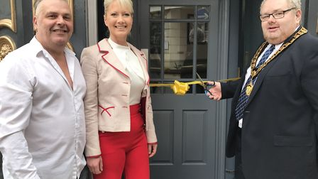 The Albion pub in Cromer has re-opened after a makeover. Steve and Zena Pye with mayor David Pritcha