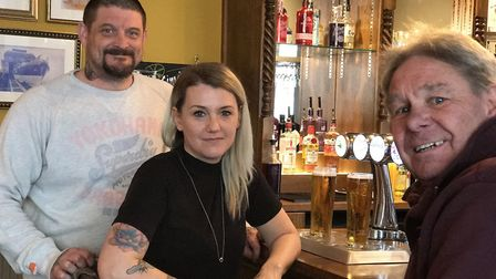 The Albion pub in Cromer has reopened after a makeover. Regulars, L-R, Neil Davies, Monika Thomas an