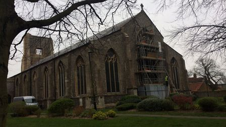 The scaffolding at the back of the church will be taken down later. Pictures: Rev Paul Cubitt
