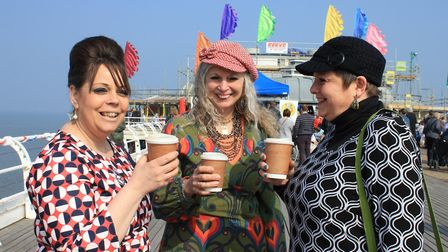 Cromer Pier box office and retail manager Deb Lewis (left) takes a break for a coffee with friends d
