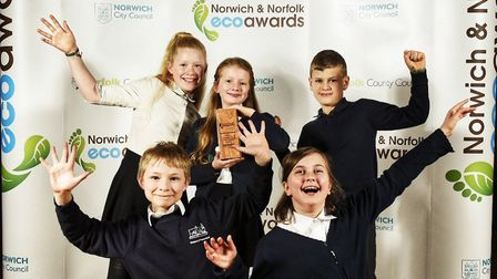 Primary school catergory winners, Ellingham VC Primary School, at the Eco Awards. Photo: Norfolk Cou