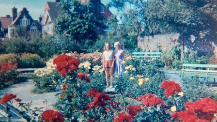 A mother and daughter on holiday from Sheffield in the planting area of the former model yacht pond