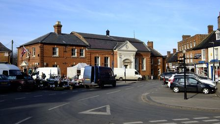 Aylsham's Market Place, where three members of the public pitched in to help rescue someone who coll