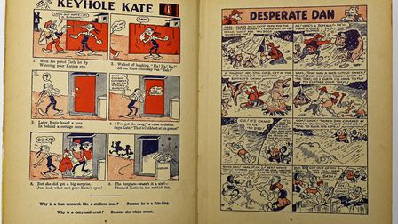 A spread featuring 'Keyhole Kate' and 'Desperate Dan' from the 1939 Dandy Annual. The rare first-edi