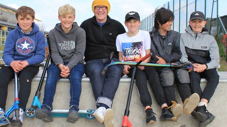 Sheringham Skate Park committee chairman Rob Sayles at The Strip with young scooter riders.Picture: