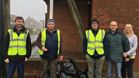 Litter pick organiser Callum Ringer (left) and fellow volunteers with some of the rubbish they colle