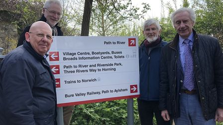 New signage installed at Hoveton and Wroxham train station. From left: Peter Mayne, chairman Bitter