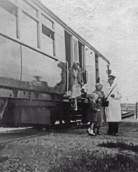 Passengers alighting at Sutton Staite on the old Broads railway, Norfolk. Picture: MEMBERS OF THE M&