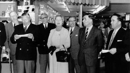 George and Beryl doing the honours at the opening of the food hall at Roys of Wroxham in 1959